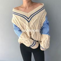 Stripes Casual Style Blended Fabrics V-Neck Long Sleeves