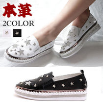 Star Round Toe Rubber Sole Casual Style Studded Street Style