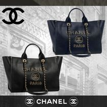 CHANEL DEAUVILLE Calfskin Blended Fabrics Studded A4 2WAY Plain Elegant Style