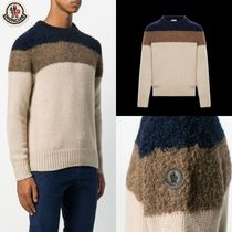 MONCLER Crew Neck Stripes Long Sleeves Logos on the Sleeves