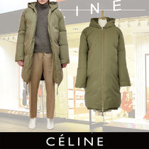 CELINE Plain Medium Oversized Khaki Down Jackets