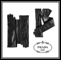 PRADA Plain Leather Leather & Faux Leather Gloves