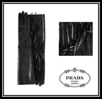 PRADA Plain Leather Fringes Leather & Faux Leather Gloves