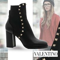 VALENTINO Casual Style Blended Fabrics Studded Street Style Plain