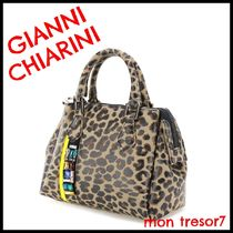 GIANNI CHIARINI Leopard Patterns 2WAY Handmade Elegant Style Shoulder Bags