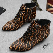 Leopard Patterns Casual Style Suede Ankle & Booties Boots