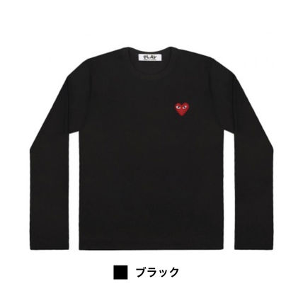 COMME des GARCONS Long Sleeve Crew Neck Heart Unisex Street Style Long Sleeves Plain 3