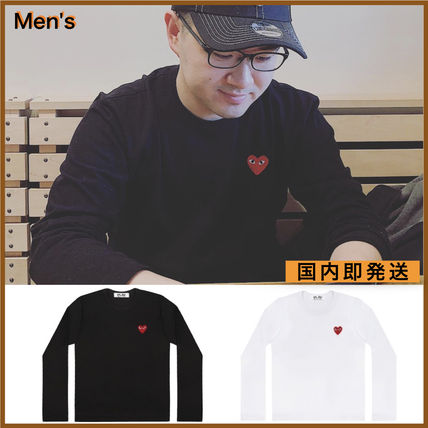 COMME des GARCONS Long Sleeve Crew Neck Heart Unisex Street Style Long Sleeves Plain