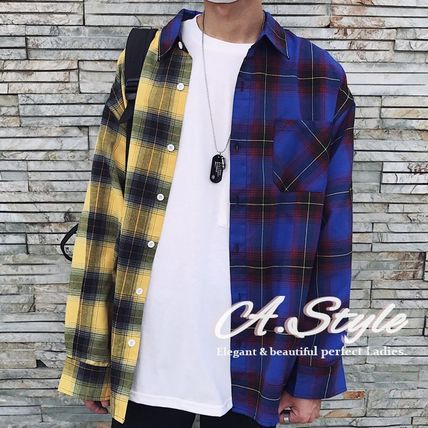 Shirts Tartan Other Check Patterns Street Style Long Sleeves Cotton