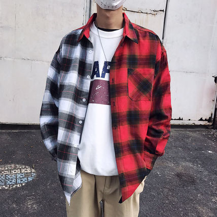 Shirts Tartan Other Check Patterns Street Style Long Sleeves Cotton 2