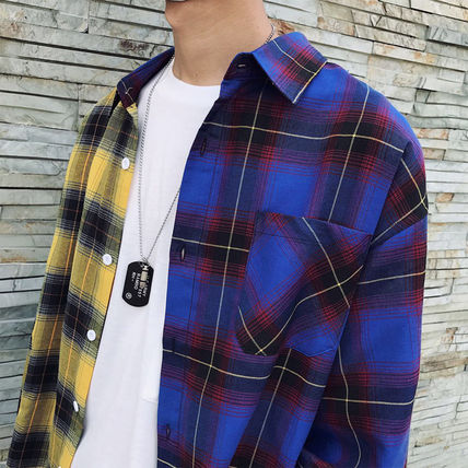 Shirts Tartan Other Check Patterns Street Style Long Sleeves Cotton 3