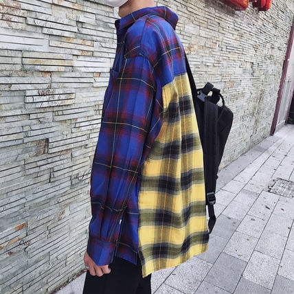 Shirts Tartan Other Check Patterns Street Style Long Sleeves Cotton 4