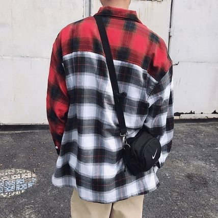 Shirts Tartan Other Check Patterns Street Style Long Sleeves Cotton 5