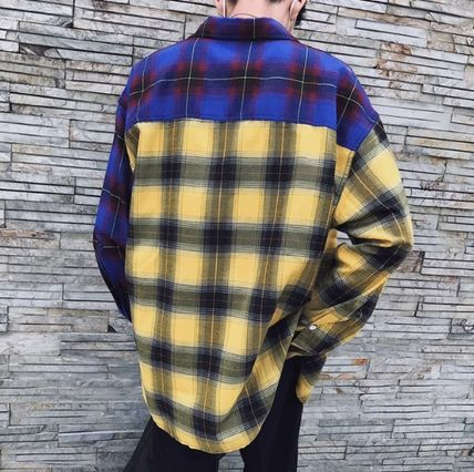 Shirts Tartan Other Check Patterns Street Style Long Sleeves Cotton 6