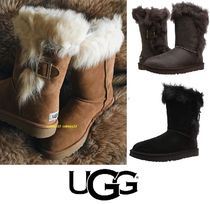 UGG Australia Round Toe Rubber Sole Suede Blended Fabrics Plain