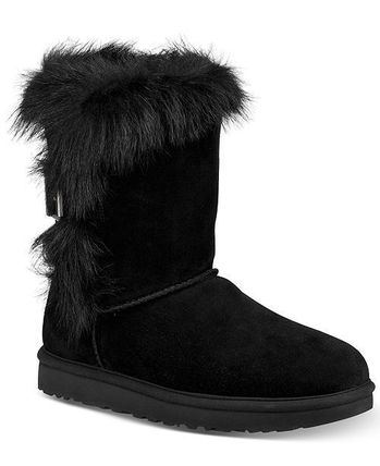 UGG Australia Ankle & Booties Round Toe Rubber Sole Suede Blended Fabrics Plain 5