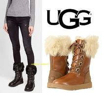 UGG Australia Rubber Sole Lace-up Casual Style Street Style Plain Leather