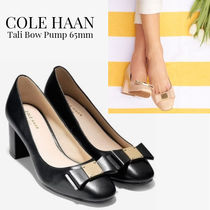 Cole Haan Round Toe Casual Style Plain Leather Chunky Heels