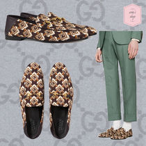 GUCCI Monogram Loafers Blended Fabrics Chain Leather U Tips