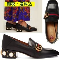 GUCCI Square Toe Studded Leather Elegant Style