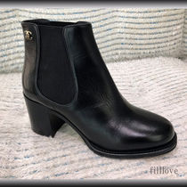 CHANEL Street Style Plain Leather Block Heels Chelsea Boots