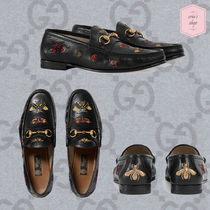 GUCCI Loafers Blended Fabrics Chain Other Animal Patterns Leather