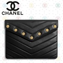 CHANEL Lambskin Studded Bag in Bag Plain Party Style Clutches