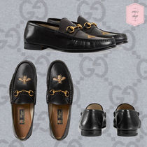 GUCCI Loafers Blended Fabrics Chain Plain Other Animal Patterns