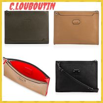 Christian Louboutin Unisex Calfskin Studded Street Style A4 2WAY Plain Clutches