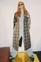Other Check Patterns Casual Style Wool Blended Fabrics