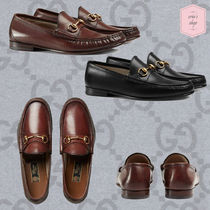 GUCCI Loafers Blended Fabrics Chain Plain Leather U Tips