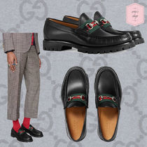 GUCCI Stripes Loafers Blended Fabrics Chain Plain Leather U Tips