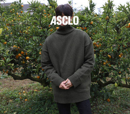 ASCLO Knits & Sweaters Street Style Long Sleeves Plain Knits & Sweaters 4