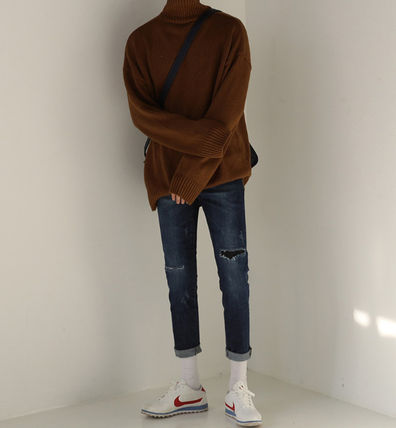 ASCLO Knits & Sweaters Street Style Long Sleeves Plain Knits & Sweaters 6