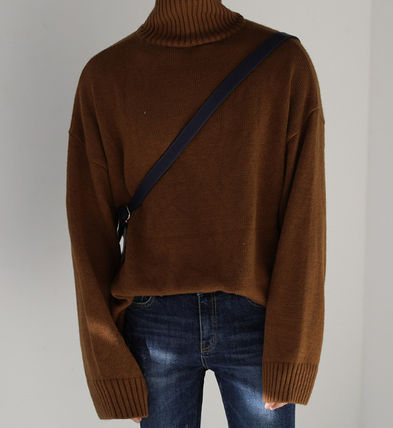 ASCLO Knits & Sweaters Street Style Long Sleeves Plain Knits & Sweaters 8