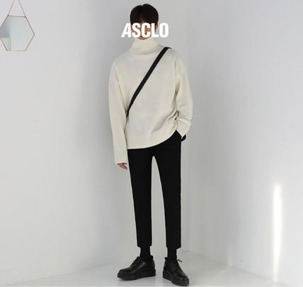 ASCLO Knits & Sweaters Street Style Long Sleeves Plain Knits & Sweaters 9