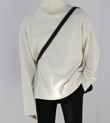 ASCLO Knits & Sweaters Street Style Long Sleeves Plain Knits & Sweaters 11