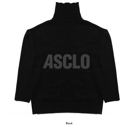 ASCLO Knits & Sweaters Street Style Long Sleeves Plain Knits & Sweaters 16