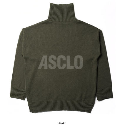 ASCLO Knits & Sweaters Street Style Long Sleeves Plain Knits & Sweaters 18
