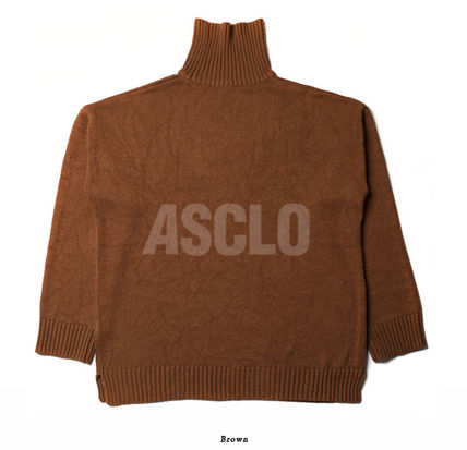 ASCLO Knits & Sweaters Street Style Long Sleeves Plain Knits & Sweaters 19