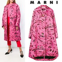 MARNI Stand Collar Coats Casual Style Other Animal Patterns Long