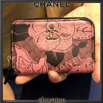 CHANEL ICON Flower Patterns Lambskin Bi-color Coin Purses