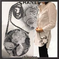 CHANEL ICON Flower Patterns Lambskin Bi-color Chain Elegant Style