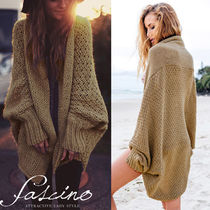 Cable Knit Casual Style Rib Dolman Sleeves Plain Cotton Long