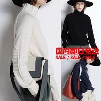 Casual Style Plain Oversized Sweaters