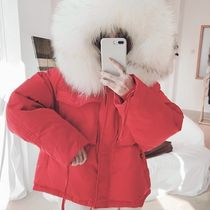 Short Fur Blended Fabrics Street Style Bi-color Plain Parkas