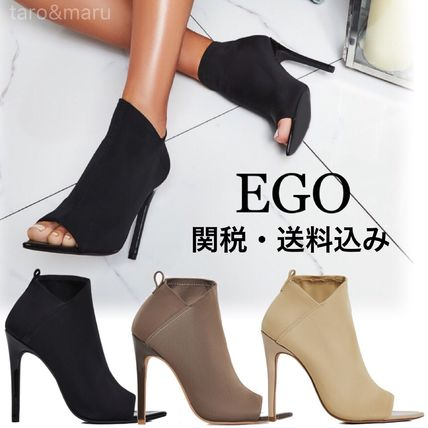 Open Toe Plain Pin Heels Elegant Style Ankle & Booties Boots