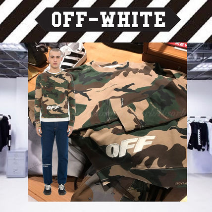 Off-White Sweatshirts Crew Neck Camouflage Street Style Long Sleeves Cotton