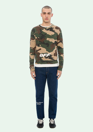 Off-White Sweatshirts Crew Neck Camouflage Street Style Long Sleeves Cotton 2