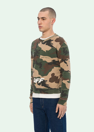 Off-White Sweatshirts Crew Neck Camouflage Street Style Long Sleeves Cotton 4